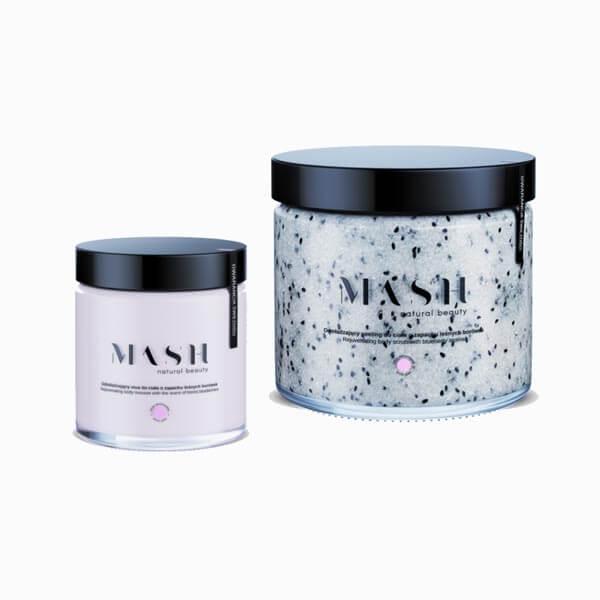 Odmładzający zestaw balsamu i peelingu do ciała MASH Natural Beauty o zapachu leśnej borówki.