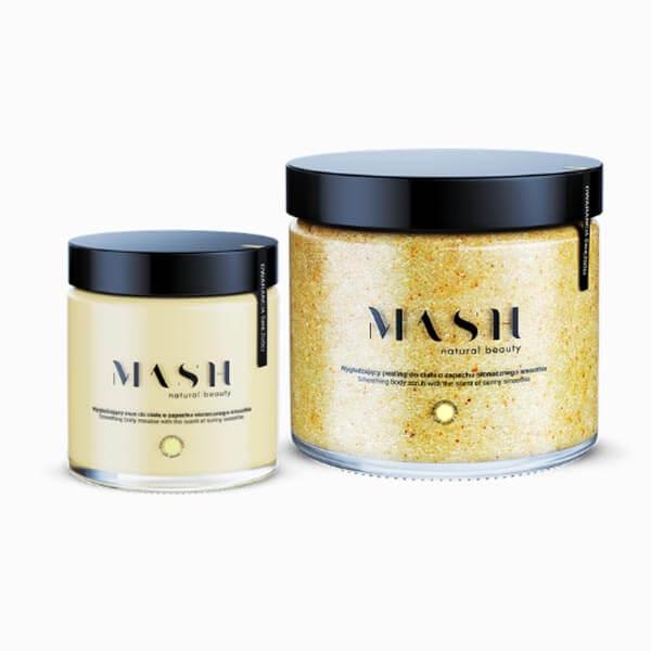 Wygładzający zestaw balsamu i peelingu do ciała MASH Natural Beauty o zapachu słonecznego smothie.